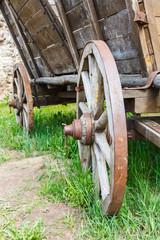 Old wooden cartwheel closeup