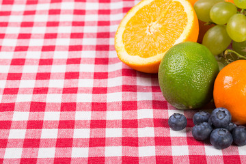fruit on tablecloth textile