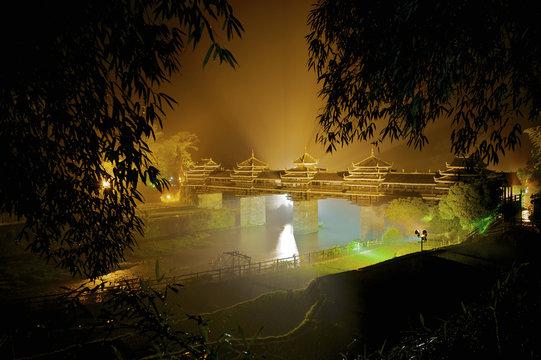Chengyang bridge at night, Dong architecture, Liuzhou, China