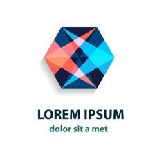 Vector crystal abstract logo. Modern polygon design