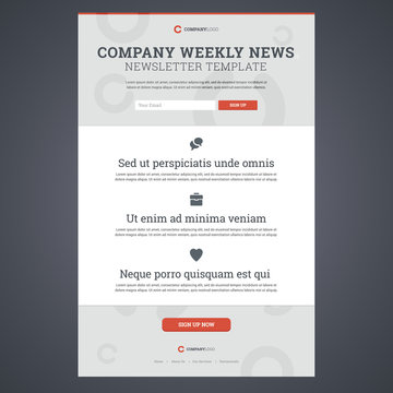 Company news newsletter template with sign up form. Vector illus