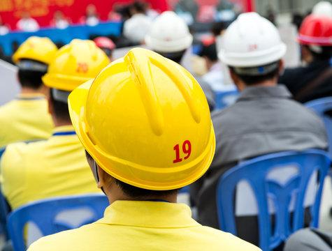 construction workers with helmet.