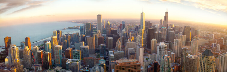 Fototapeten Chicago Aerial Chicago panorama at sunset, IL, USA