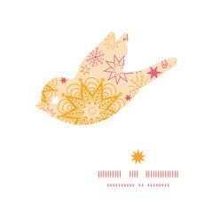 Vector warm stars bird silhouette pattern frame