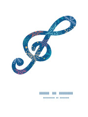 Vector colorful doodle snowflakes g_clef musical silhouette