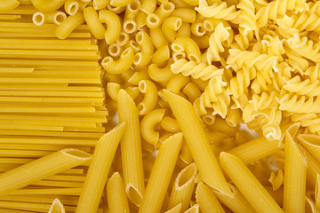 Variety of types and shapes of Italian pasta
