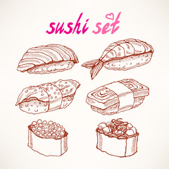 six different kinds of sketch sushi