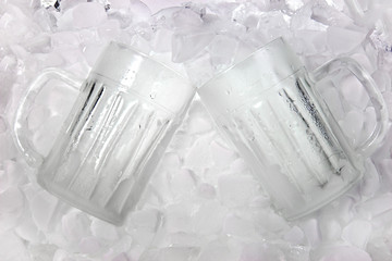 glass of beer is in ice