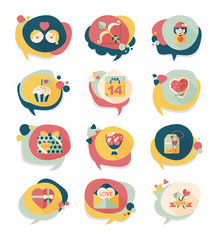 Valentine's Day speech bubble banner flat design background se