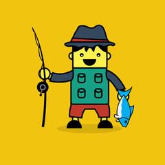 Cute fisherman cartoon.