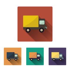 Flat truck icon set