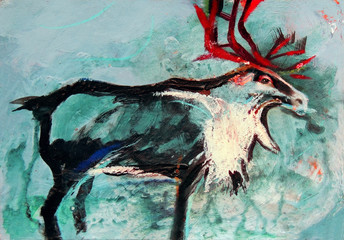 Painting on paper of deer