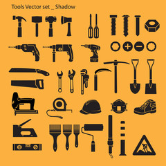 Tools set, yellow background