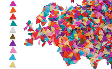 Map of Europe made of confetti / with clipping path