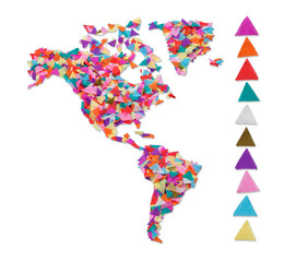 North and South America  made of confetti / with clipping path