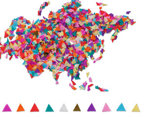 Map of Eurasia made of confetti / with clipping path