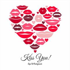Lips set. Design element of heart.