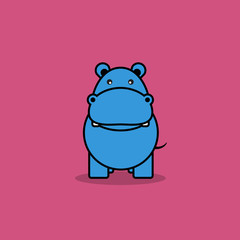 Cute hippo cartoon.