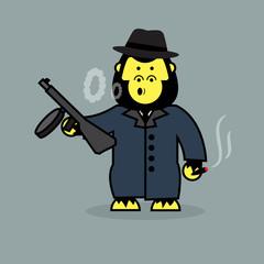 Cute gorilla mobster.