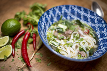 Vietnamese Pho Bo Soup with ingredients