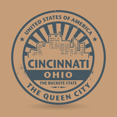 Grunge rubber stamp with name of Cincinnati, Ohio
