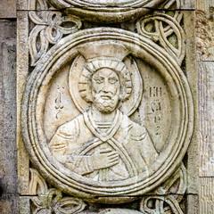 Old religious Christian orthodox stone icons.