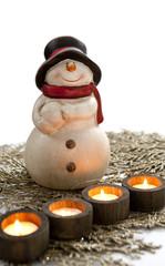 Bonhomme de neige décoratif bougies