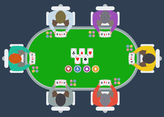 poker table with players