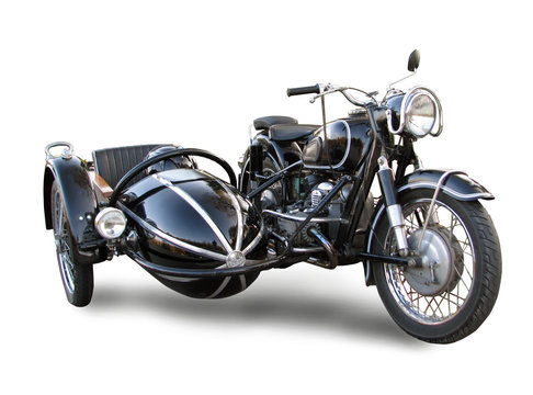 Old motorbike with trailer isolated over white