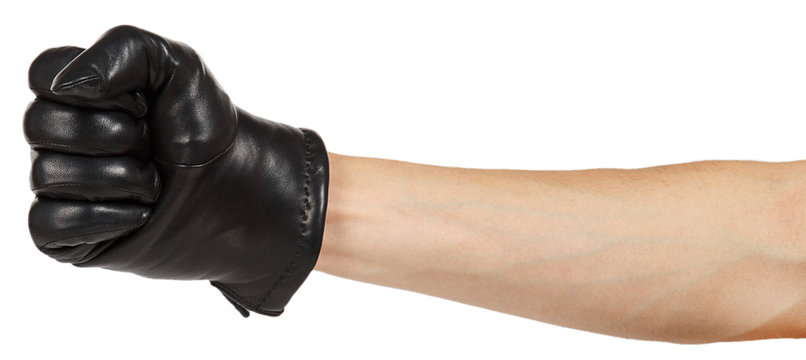 Hand in black leather glove