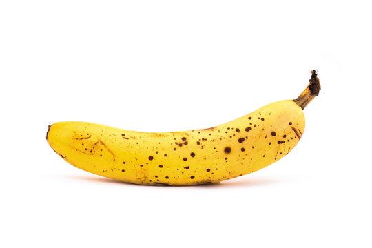 Old bad banana isolated on white