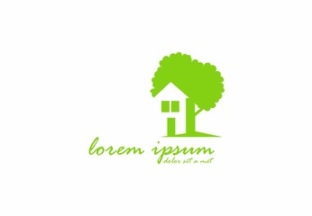 go green house and tree logo vector