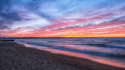 Sunset Fire on Huron