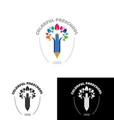 Colorful preschool logo template