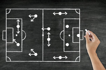 hand writing foot ball tactic on blackboard