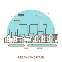 linear background with urban landscape, a stylish modern design