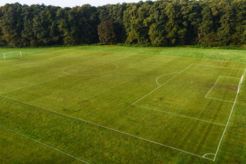 Birds Eye View of a football pitch