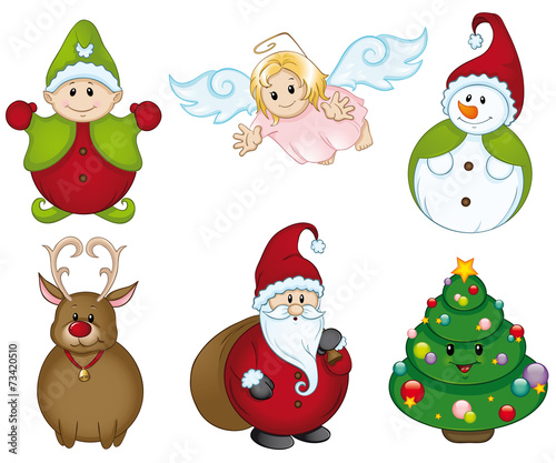 Weihnachtsfiguren set stockfotos und lizenzfreie vektoren auf bild 73420510 - Clipart weihnachtswichtel ...