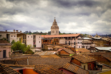 tower of Santo Domingo church in colonial Quito Ecuador South
