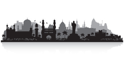 Wall Mural - Hyderabad India city skyline silhouette