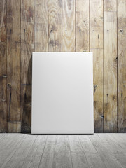 Poster on white wooden floor, wooden brown wall