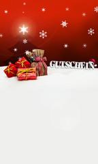 Christmas voucher Gutschein gifts snow red