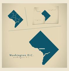 Modern Map - Washington D.C. USA