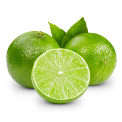 Citrus lime fruit set isolated