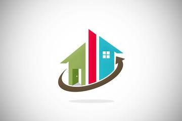home realty abstract construction design logo