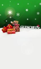 Christmas voucher Gutschein gifts snow green