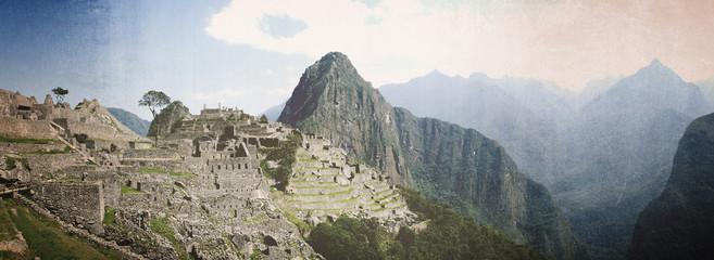 Machu Picchu panorama vintage