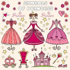 Vector illustration with set of princess symbols