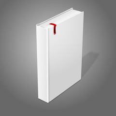 Realistic standing white blank hardcover book with red bookmark