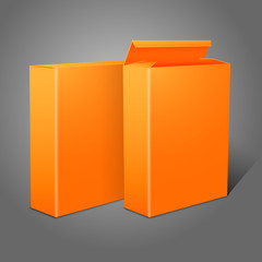 Two realistic bright orange blank paper packages for cornflakes